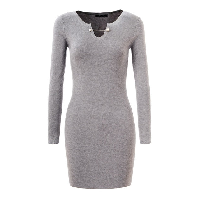 Women Sweater Dress 2018 Chic Long Sleeve Autumn Winter Dress Party Bodycon Sweater Pullovers Wmy-3180