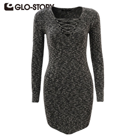 Women Sweater Pullover 2018 Lady Winter Knitted V-Neck Sweater Dresse Long Sleeve Vestito Di Maglione 3316