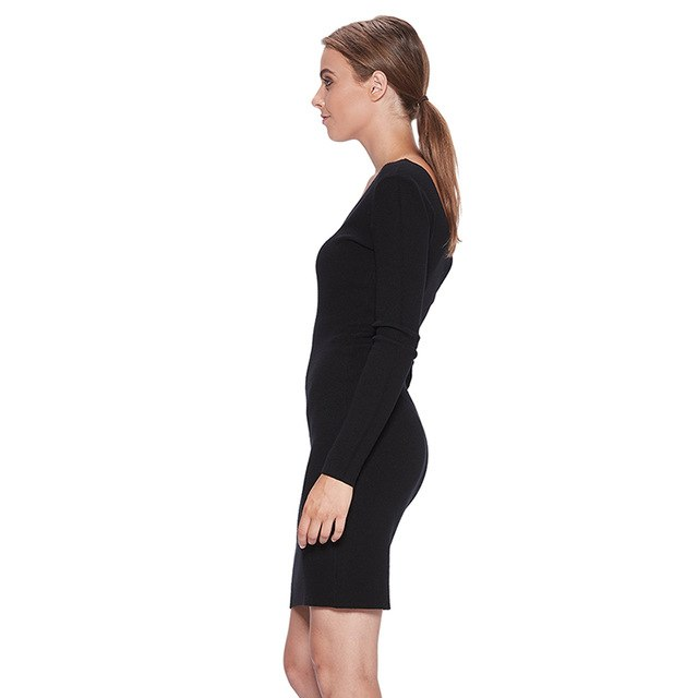 Women'S 2018 Deep V Neck Party Club Winter Mini Bodycon Sweater Dresses Woman Slim Fit Vestio Wyq-7663