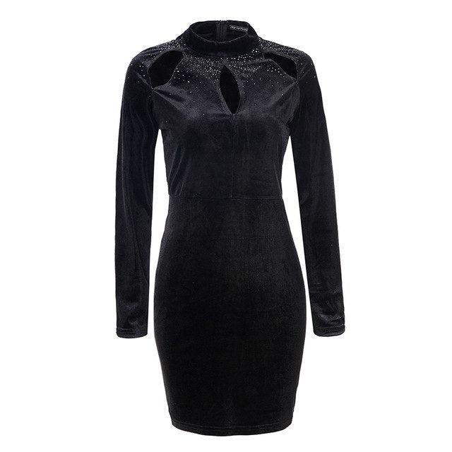 Autumn Vintage Dress 2018 Casual Long Sleeve Winter Party Dress Solid O-Neck Bodycon Dress