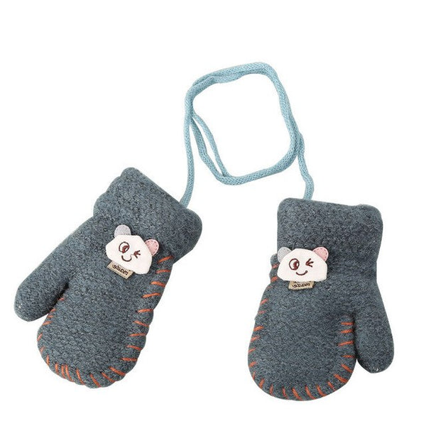 Gloves Thick Cartoon Cat Head Winter Warm Lining Children Glove Cat Print Gloves Cat Print Knitted Gloves