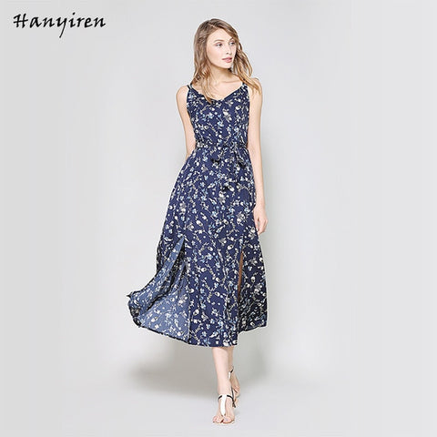 Women Bohemia Printing A-Line Dress V Neck Backless With Belt Women Sleeveless Cotton Floral Maxi Dresses