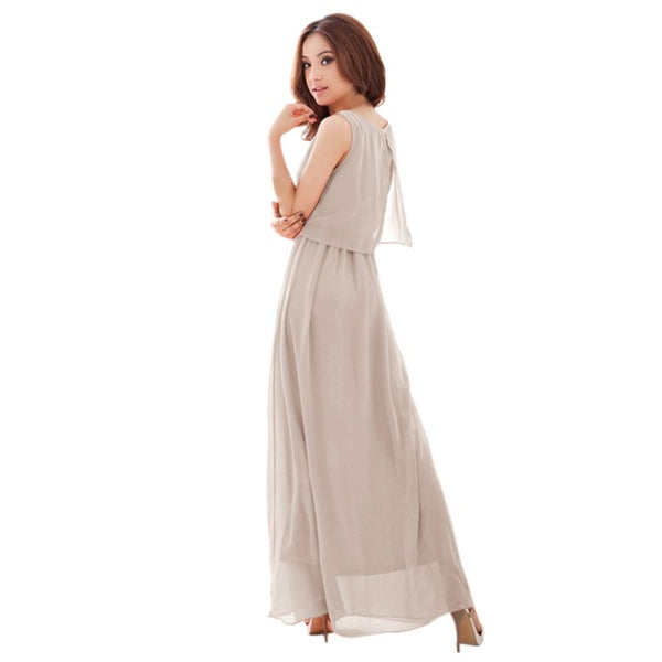 High Waist Bodycon Bohemian Dress Women Sexy Solid Color Maxi Party Dress Elegant Ladies Summer Beach Sleeveless Long H7