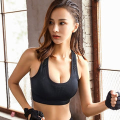 Hollow Out Seamless Bra Women Crop Top Wire Free Plus Size Bralette Super Gathering Push Up Fitness Bras For Women H9