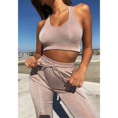 Sparkly Fitness Set Women Casual Tracksuit Tank Tops Drawstring Leggings Two Piece Sets