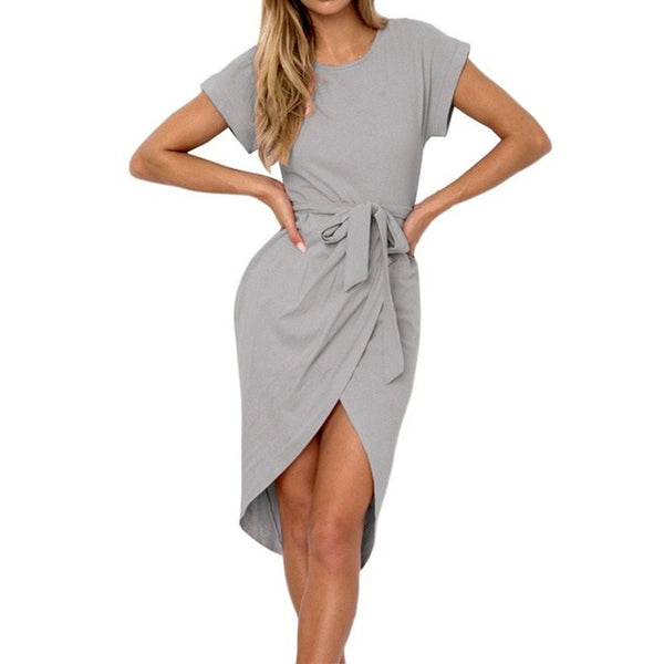 Irregular Casual Vestidos Vintage Dress Knee-Length Bodycon Bandage Women Solid Dress With Belt H6