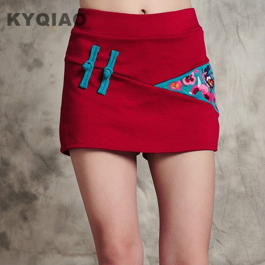 Pantskirt Culottes 2019 Women Autumn Mexican Vintage Red Black M-4Xl Embroidery Frog Shorts