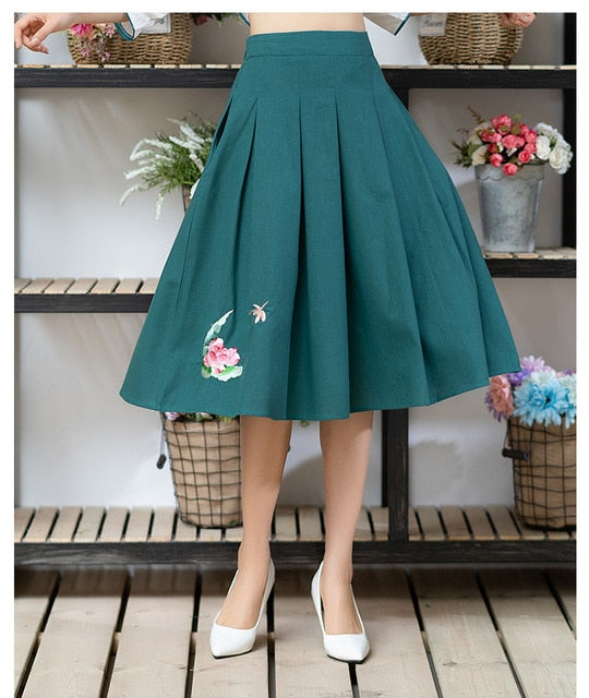 Faldas Mujer Moda 2019 Skirts Women Autumn Spring Chinese Original Green Embroidery Pleated Skirt