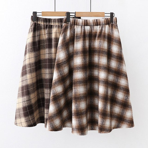 f185255ae4 Faldas Mujer Moda 2019 Women Plaid Skirt Autumn Spring Japan Chic Hick Warm Elastic  Waist Plaid