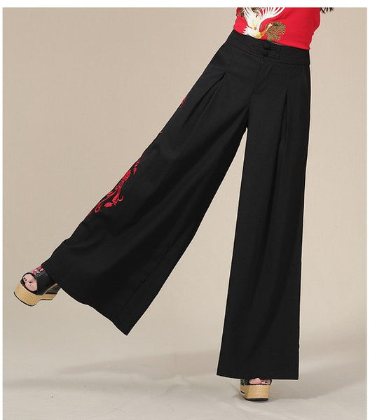 f5efb59c7581 Vintage 70S Long Black Embroidery Wide Leg Pant Women Pants Autumn Loose Trousers  Pantalon Femme