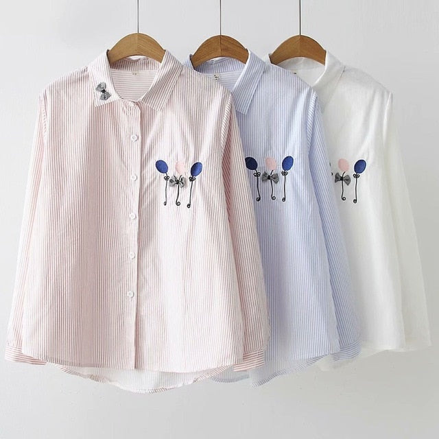 Women Cartoon Shirt 2019 Mori Autumn Spring Japanese Blue Pink White Balloon Embroidery Blouse Tops Blusa