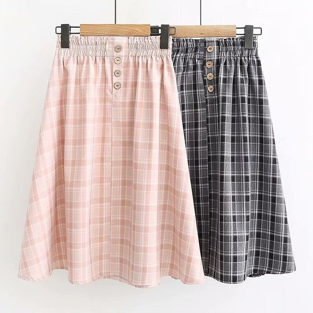 Women Plaid Skirt Autumn Spring Japanese Vintage Elastic Waist Long Pink Grey Plaid A-Line Midi Skirt