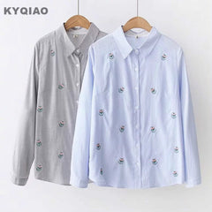 Tops Blouses 2019 Mori Autumn Spring Japan Fresh Kawaii Long Sleeve Blue Grey Embroidery Blouse