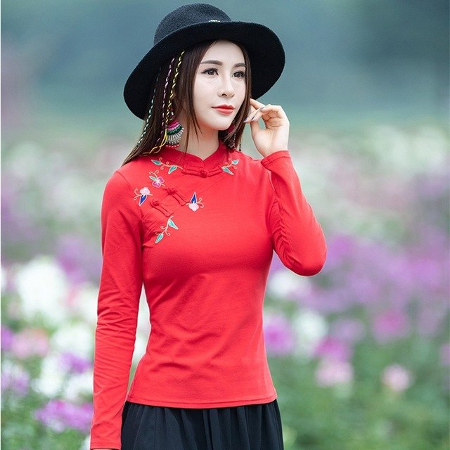 3f0d8cffe582 Tops Autumn Spring Original Long-Sleeved Red Embroidery Blouse Shirt Blusas  Mujer De Moda 2019