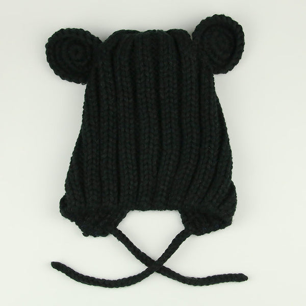 Kids Knitted Winter Hat Cartoon Bear Ear Knitted Skullies Beanie With String Solid Thick Warm Children Baby Cap Drop Shipping
