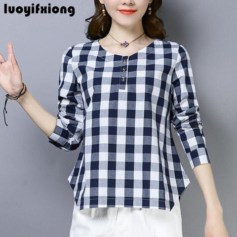 Long Sleeve Plaid Tops Blouses Casual Cotton Linen Blouse Women Shirts 2019 Plus Size Kimono Blusas Mujer