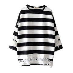 Lace Floral T-Shirt  Women Girls Black White Striped Tops Loose Clothing T-Shirts New Sale H7