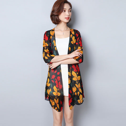 2018 Summer Sunproof Cardigan Women Printing Chiffon Bikini Cover Up Kimono Cardigan Coat Plus Size Camisa