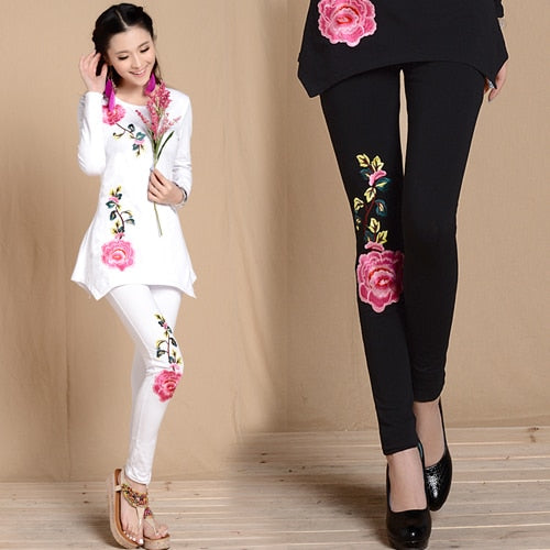 M L Xl Xxl 3Xl Black White Embroidery Leggings Spring Autumn Bohemian Flowers Embroider Pencil Pant Trousers