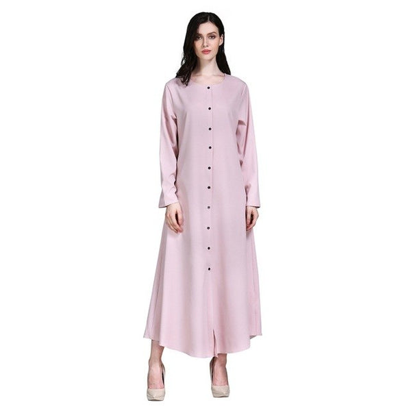 Modest Muslim Dress Women Pink Abayas Front Button Dubai Hijab Dress Prayer Clothes Long Sleeve Islamic Dress For Women H7