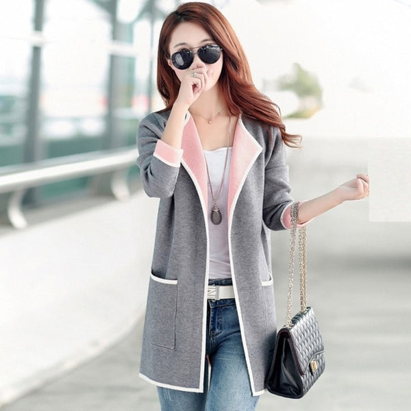New 2018 Autumn Winter Woolen Coats Fashion Patchwork Women Full Sleeve Cardigan Coat Casual Female  Pocket Overcoat Clothes