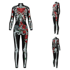 New 2018 Halloween Bodysuit Women 3D Skulls Roses Rompers Womens Jumpsuit Tight Sexy Nightclub Bodysuit Femme S-Xl H9