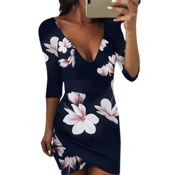 New 2018 Summer Dress Women Sexy V-Neck Backless Floral Print Dress Half Sleeve Party Club Mini Dresses Vestidos Female H8