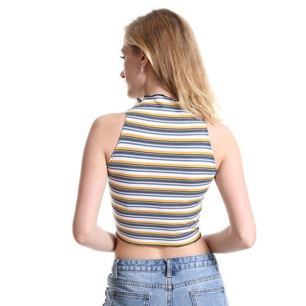 New 2018 Summer Womens T Shirt Criss Cross Bandage Striped Sleeveless Short T-Shirt Wrap Crop Top Crew Neck Top Tee 2Xl H8