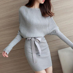 New Elegant Winter Dresses Women 2017 Christmas Dress For Women Batwing Sleeve O-Neck  Solid Casual Bow Vestidos H8