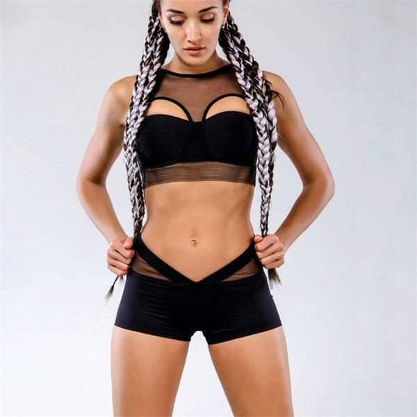 Mesh Patchwork Women Sets Black White Sporting Fitness Suits Push Up Crop Tops Bras Slim Short Shorts 2 Pieces Sets
