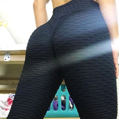 Knitted Pleated Print Workout Leggings Women High Waist Elastic Fitness Legging Push Up Hips Sporting Pants Leggins