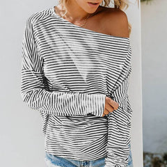 New Women Autumn Sexy Stripes Print Round Collar Off-The-Shoulder Batwing Sleeve Casual T-Shirt  Pullover Loose Tops H9