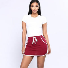 New Women Skirt Causal 2018 Fashion Ladies Mini Skirt Women Brief High Waist Lace-Up Stitching White Stripe  A-Line Skirts H8