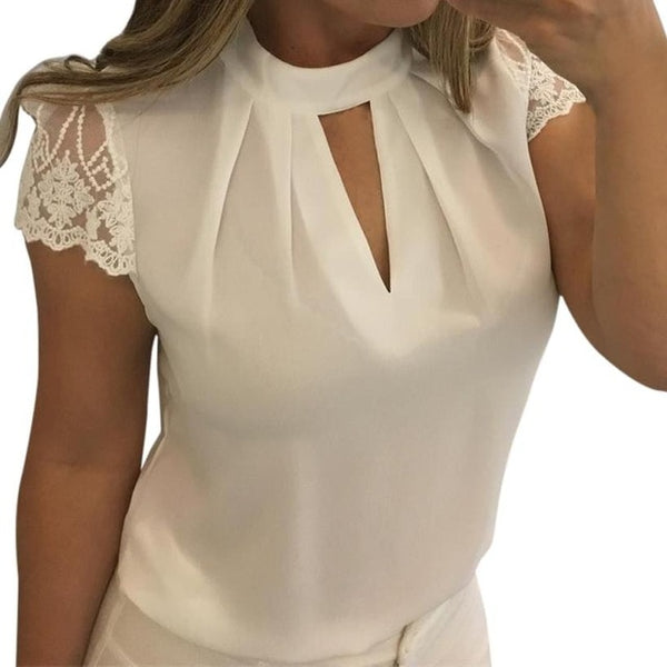 New Women Summer Sexy Blouses  Write Casual Hollow Short Sleeve Lace Tops Blouse Shirts 2018 Blusa Feminina Plus Size 3Xl H8