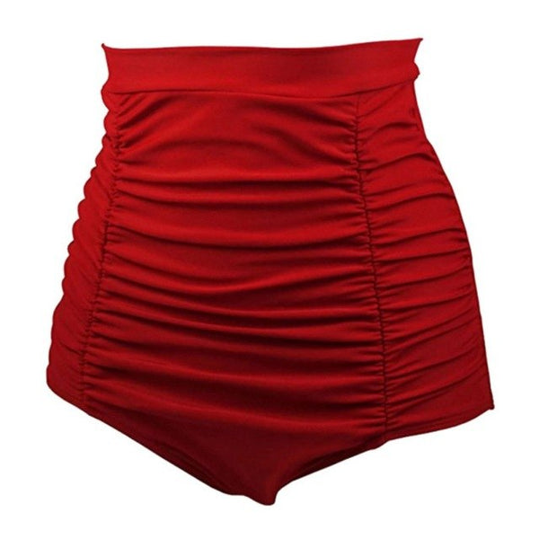 New Women Vintage High Waist Bikini Bottom Ladies Solid Pleated Shorts Ruched Brazilian Bathing Shorts Plus Size H8