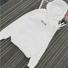 Oh Yes Letter Harajuku Casual Coat Two Layers Hat Winter Fleece Pink Pullover Thick Loose Women Man Hoodies Sweatshirt