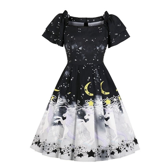 Women Vintage Dresses Star Moon Printed Pleated Ruffle Sleeve Princess A Line Party Black Goth Chic Midi Dress