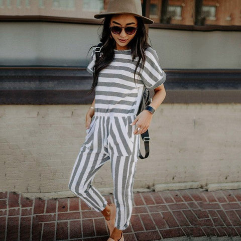 Casual Stripe Jumpsuit 2019 Round Neck Short Sleeves Pockets Romper Playsuit Trousers Overalls