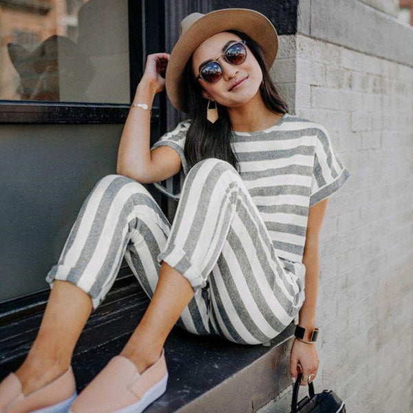 b141eb7e5eef Casual Stripe Jumpsuit 2019 Round Neck Short Sleeves Pockets Romper Playsuit  Trousers Overalls
