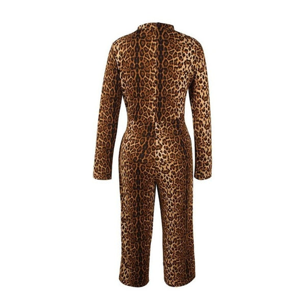 Sexy Leopard Jumpsuit Women Turtleneck Bodysuits Long Sleeve Romper Womens Jumpsuit One Piece Femme Playsuit Female H9