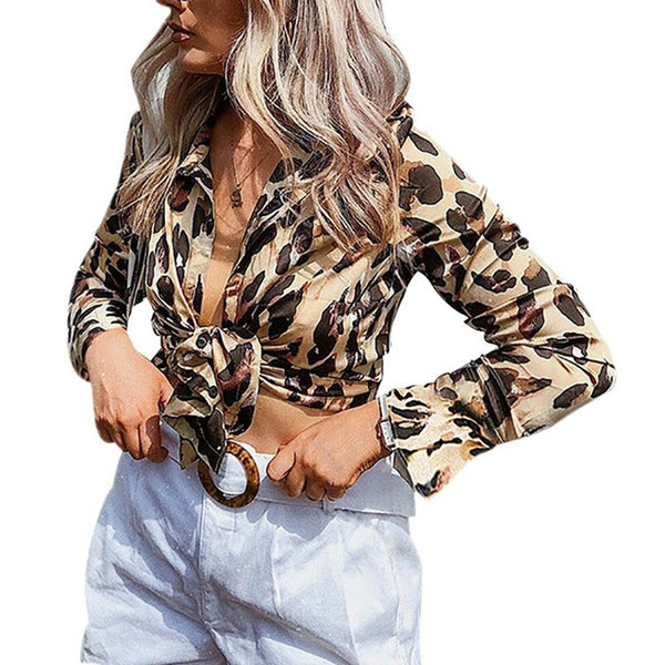 Sexy Leopard Print Chiffon Blouse Women Long Sleeve Shirt Deep V-Neck Knotted Slim Crop Top Women Blusas Feminina H9