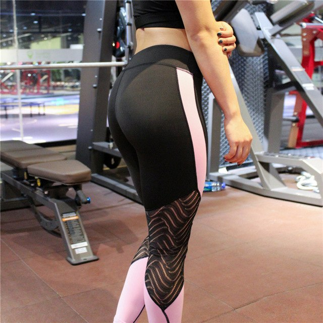Mesh Patchwork Leggings Lace Fitness Yoga Pant Leggins