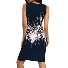 Sexy Packaging Hip Slim Bodycon Pencil Dress Floral Print O-Neck Sleeveless Summer Dresses Elegant Ladies Party Vestidos 2018 H7