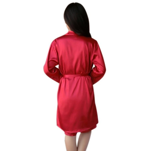 Sexy Women Silk Satin Lady Pajamas Sleepwear Robes Nightdress Nightgown 2Pcs Hot Selling H7