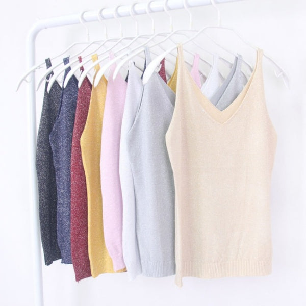 Sexy Women V Neck Sleeveless Knitted Tops T Shirt Spaghetti Strap Casual T-Shirts