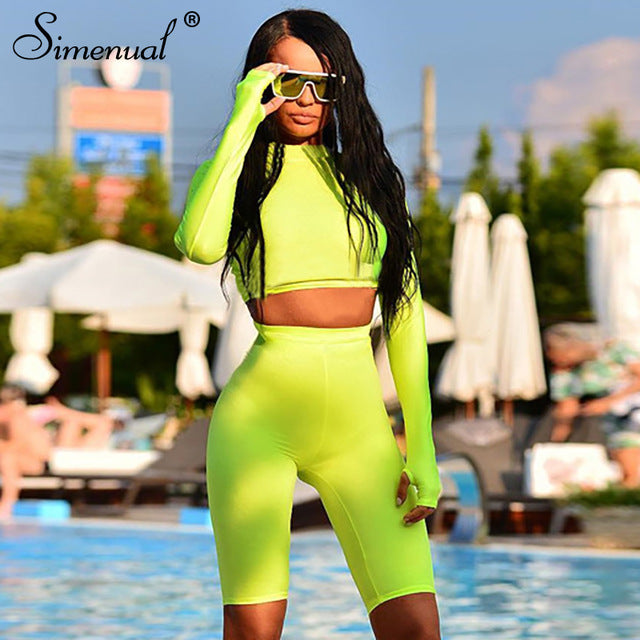 Fitness Two Piece Biker Shorts Crop Top Set Women Long Sleeve Tracksuit Bodycon Neon Color Sets Push Up Short Pants