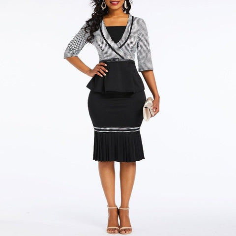 Women Black Plaid Career Suits Spring Summer Houndstooth Blouse Falbala Bodycon Skirt Office Lady Work Wear Suit Set