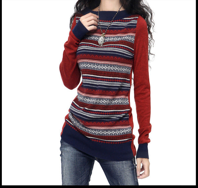 Spain Long Sleeve Slash Neck Jacquard Weave Patchwork Sweater Autumn Winter Vintage Pullovers Knitwear