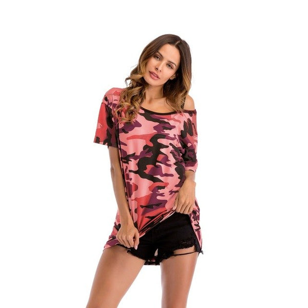 Summer Loose Off The Shoulder Camouflage Printing T-Shirt Women Tops Cotton Tee Shirt Femme Camisetas Mujer Harajuku T Shirts H6