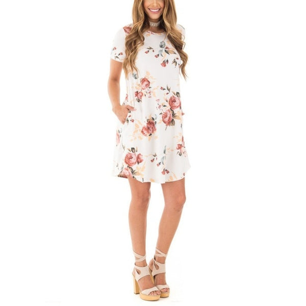 Summer O-Neck Women Mini Dress Floral Print Short Sleeve Dresses Party Vestido H6